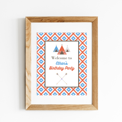 Southwestern Inspired Teepee Party Welcome Sign Printable