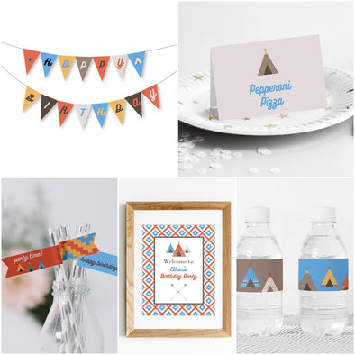 Southwestern Teepee Party Decor Package Printables