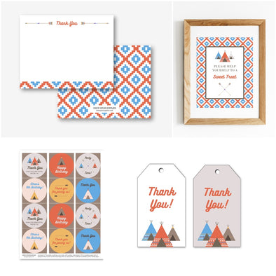 Southwestern Teepee Party Thanks & Favors Printables Package