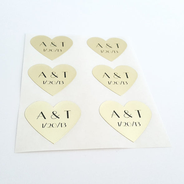 personalized gold foil heart stickers