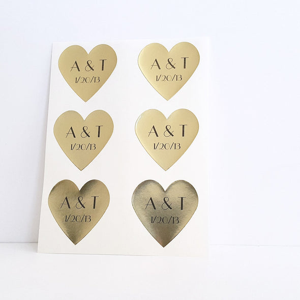 personalized gold foil wedding envelope seals