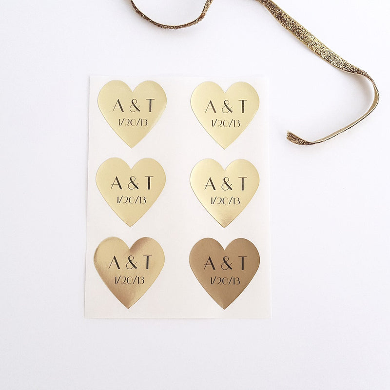 gold foil heart stickers with initials