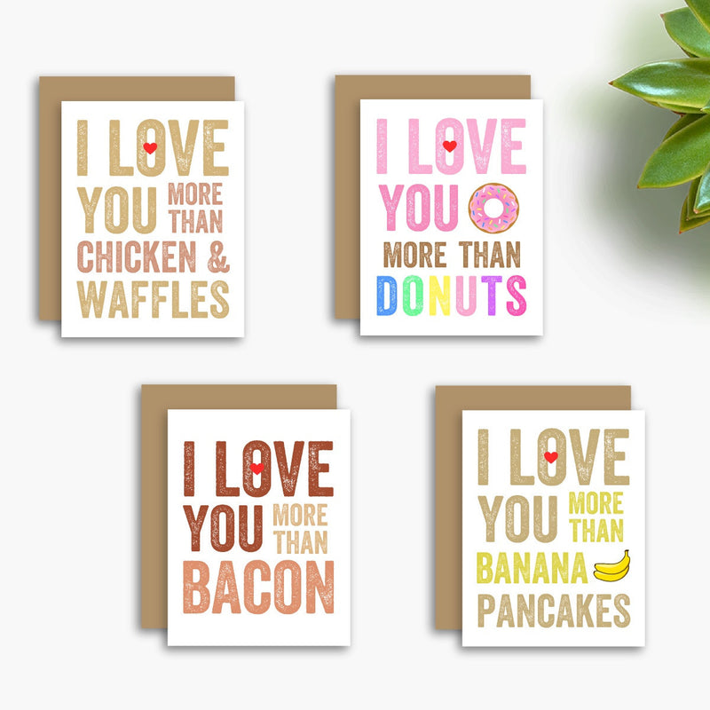 I Love You More Than Breakfast Set of 4 Greeting Cards