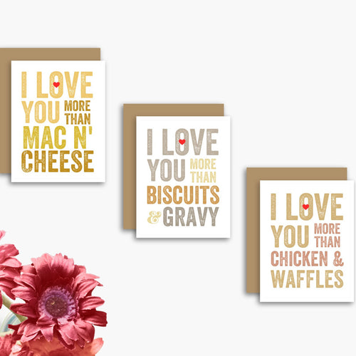 I Love You More Than Comfort Food Set of 3 Cards