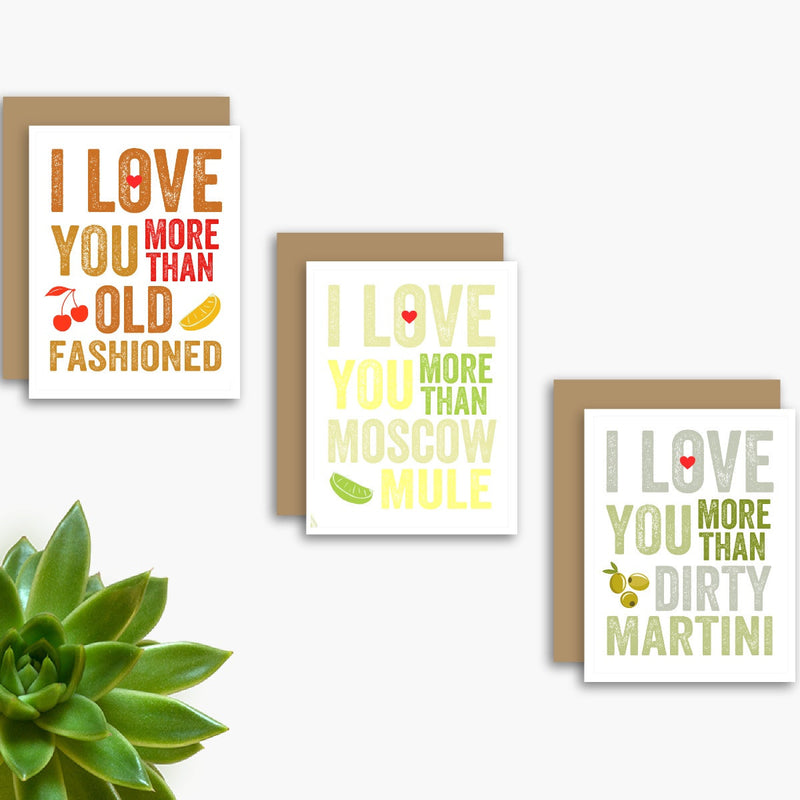 I Love You More Than Happy Hour Set of 3 Cards