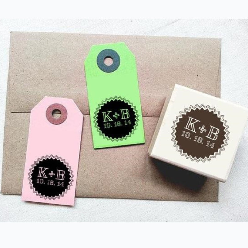 Wedding Custom Stamp. Personalized Stamp. Starburst Border Design. DIY Wedding Tags Favors Gift Tags - Once Upon Supplies