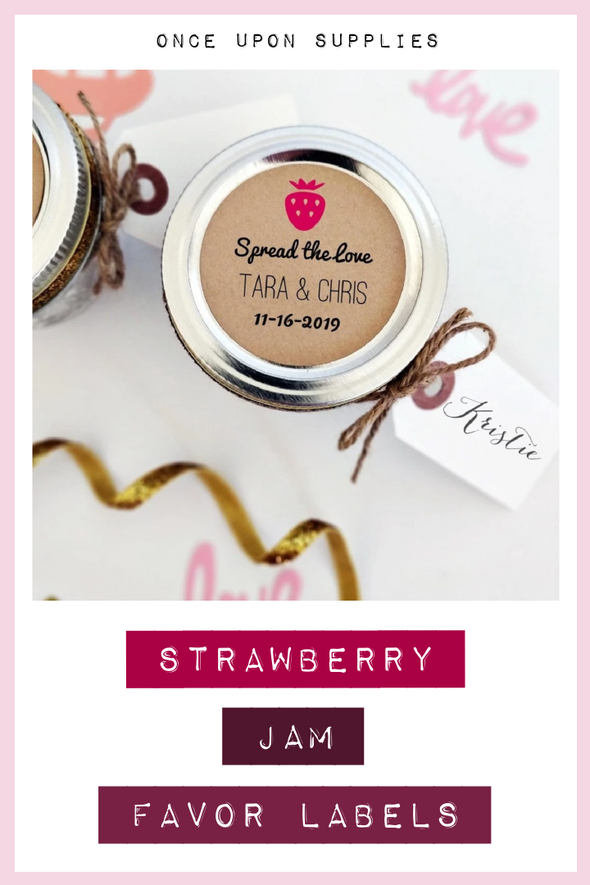 Strawberry Jam Wedding Favor Labels | Once Upon Supplies