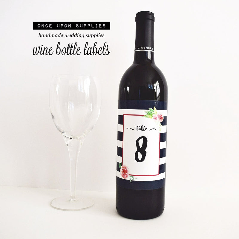 table number signs wine labels watercolor flowers black stripes