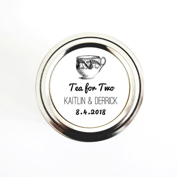 Tea for Two Wedding Tea Favor Stickers