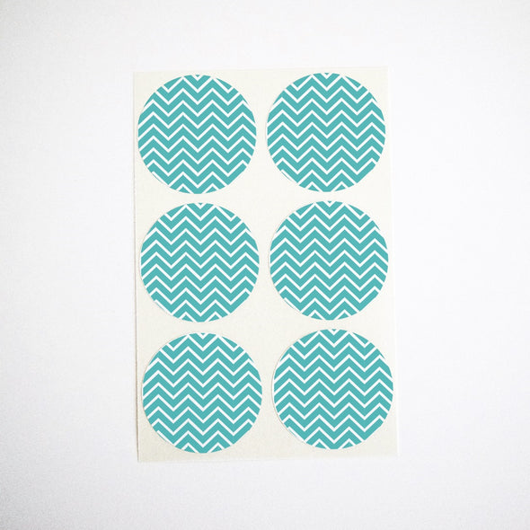 teal chevron round labels with zig zag stripes
