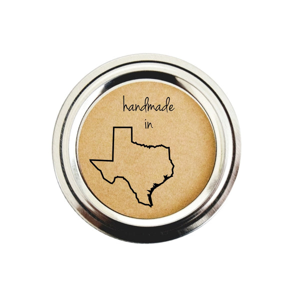Texas State Shape Outline Canning Labels | Handmade in Texas Stickers | Once Upon Supplies