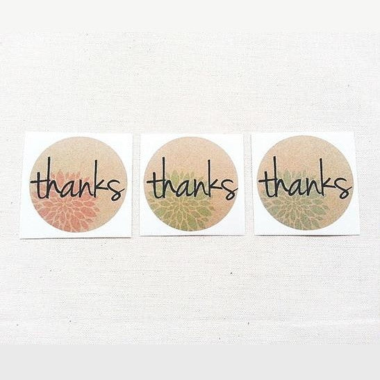 Thanks Floral Round Labels - Once Upon Supplies
