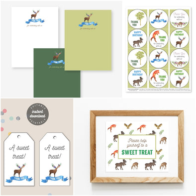 Woodland Forest Animals Birthday Party Thanks and Favors Package