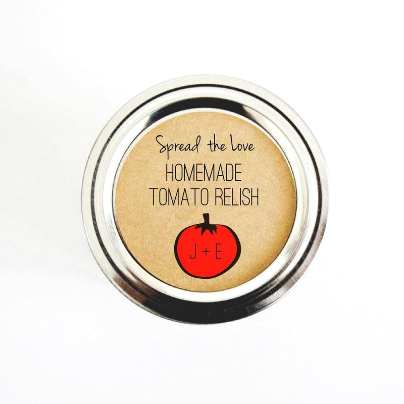 Tomato Relish Wedding Favor Labels for Mason Jars