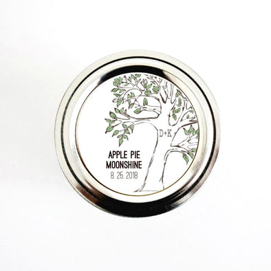 Tree with Initials Personalized Wedding Favor Stickers