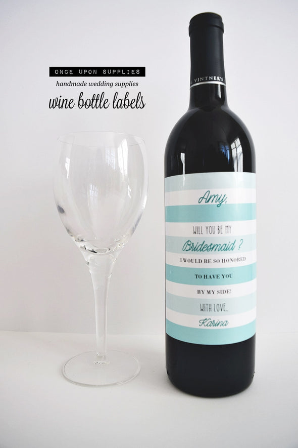 turquoise blue stripes bridesmaid gift wine labels