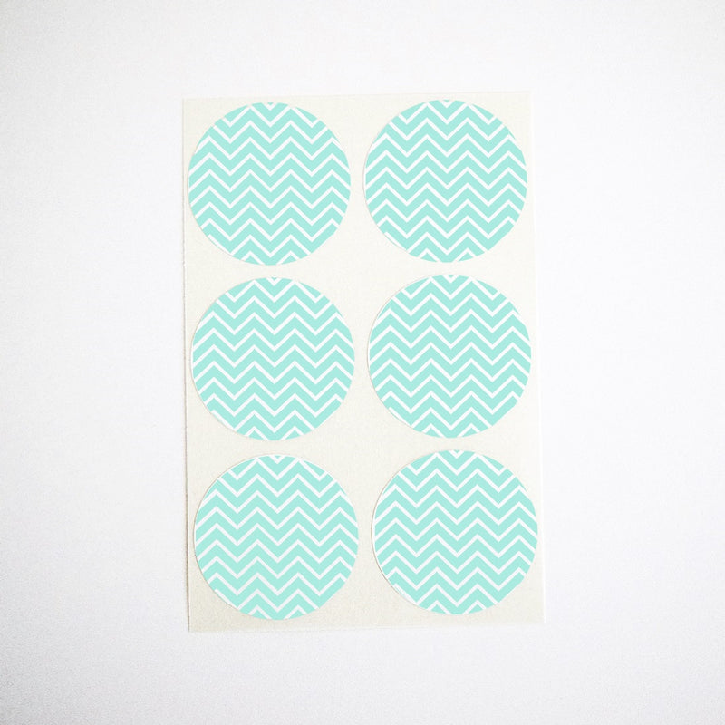 turquoise chevron stripes stickers envelope seals party favor labels