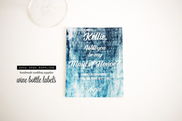 turquoise ombre watercolor will you be my maid of honor wine bottle