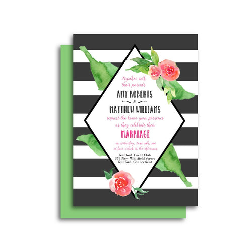 Elegant Floral Stripes Wedding Invitation
