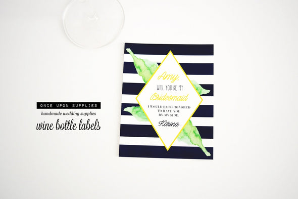 Will you be my bridesmaid wine labels - watercolor leaves and stripes