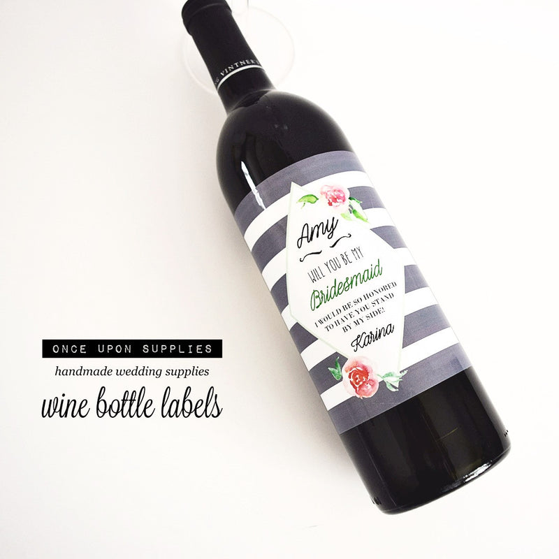 Watercolor Flowers Gray Stripes Wine Labels