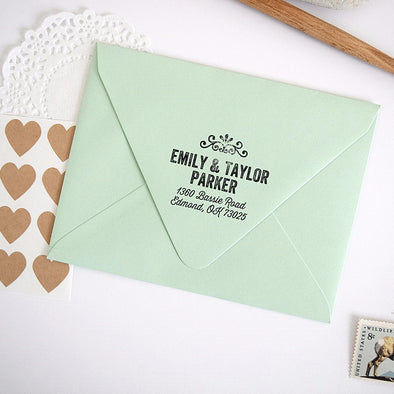 Custom Address Stamp with Vintage Ornate Embellishment