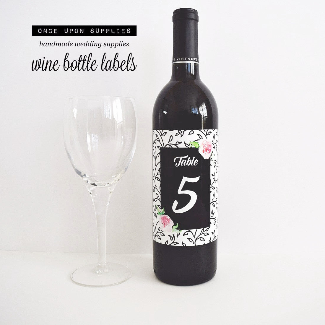 pink black floral wedding wine bottle table number labels