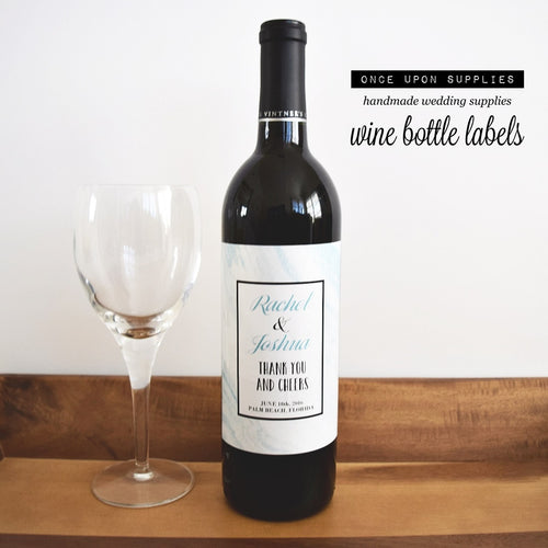 wedding wine bottle labels blue marble pattern