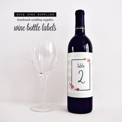 wedding wine labels for table numbers