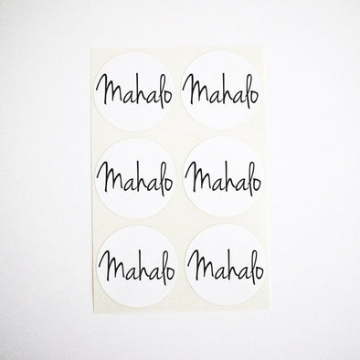 Mahalo Round Stickers Envelope Seals Favor Labels