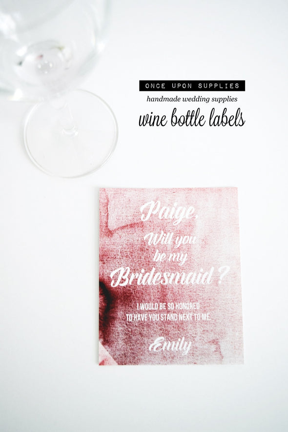 will you be my bridesmaid bottle labels pink ombre watercolor