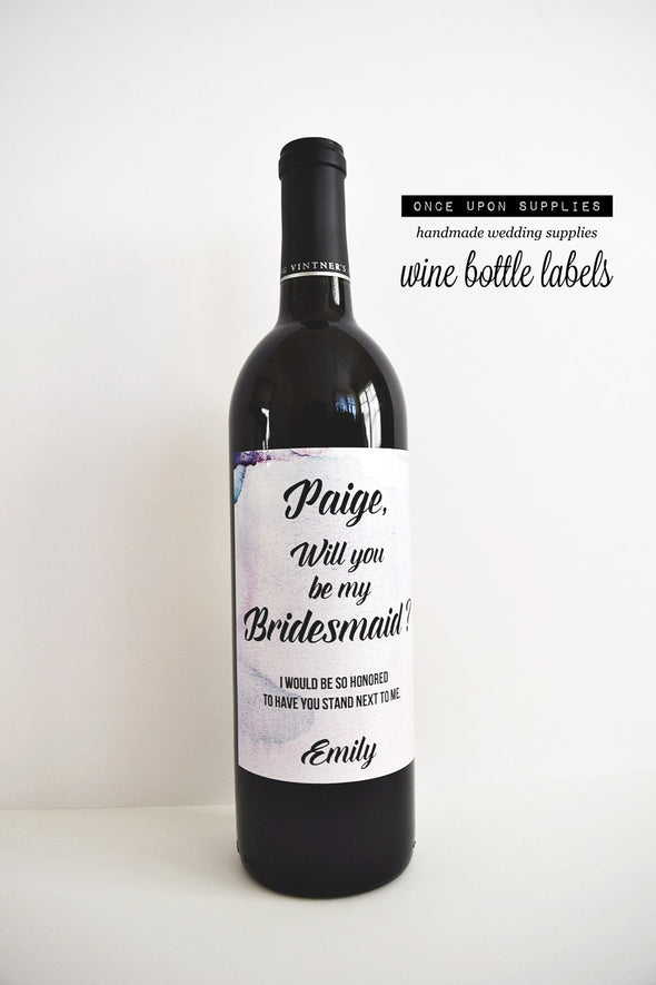 will you be my bridesmaid bottle labels pink and purple watercolor