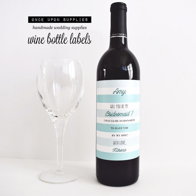will you be my bridesmaid proposal wine bottle labels