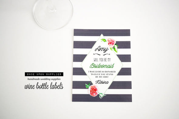 will you be my bridesmaid proposal wine gift labels
