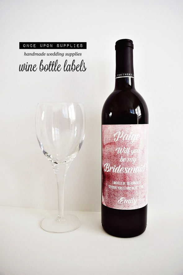 will you be my bridesmaid proposal wine labels pink watercolor