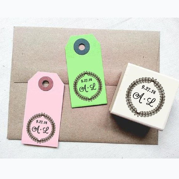 Wreath Border Personalized Rubber Stamp with Initials and Date - Once Upon Supplies