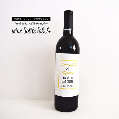 yellow and gray marble pattern custom wine labels