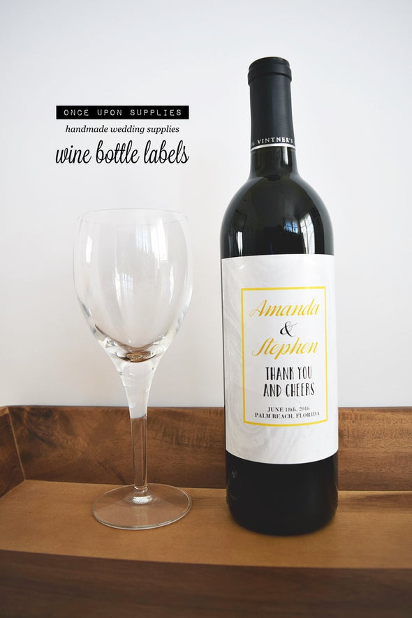 yellow and gray marble wine bottle stickers