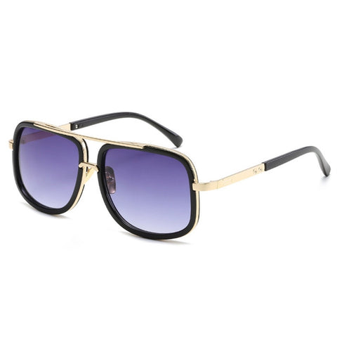 Unisex Square Mirror Sunglasses Metal Frame Flat Top Vintage Sunglasses Women Men Glasses
