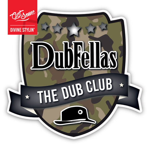 Dubfellas Green Camo Shield Sticker