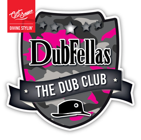 Dubfellas Pink Camo Shield Sticker