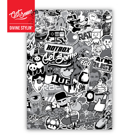 A5 Sticker Bomb Sheet Black & White