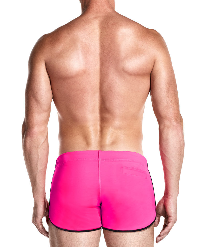 Rebel Pink Swim Shorts Front Side