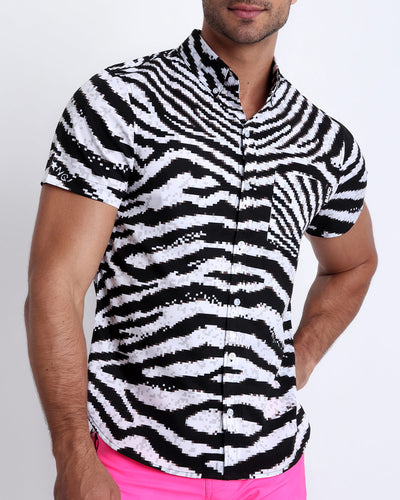 This stretch shirt for men features fun and illusion like 8-bit zebra print that will leave you wanting more