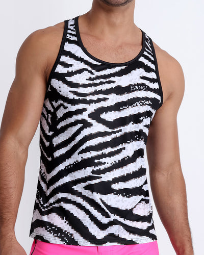 These men's tank top features an 8-bit print of a sexy zebra with perfect shades of black and white
