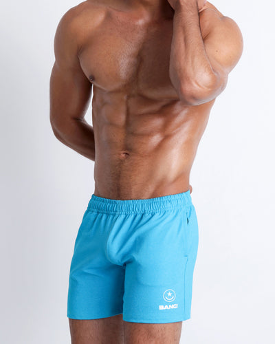 Frontal view of BANG!'s men's blue Jogger Shorts in the style of classic men's running shorts for workout, fitness or bodybuilding.