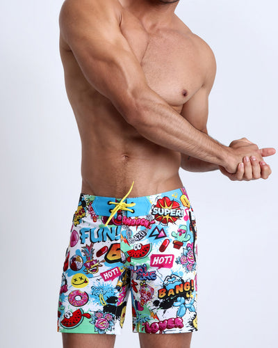 These men's flex-boardshorts features fun and enegetic comics-style graphics in bold colors, with a BANG! illustration.