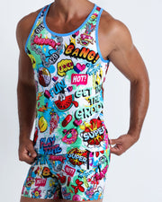This tank top for men features fun and energetic comics-style graphics in bold colors with a prominent BANG! Illustration.
