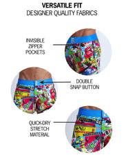 These men's beach shorts features fun and enegetic comics-style graphics in bold colors, with a BANG! illustration.
