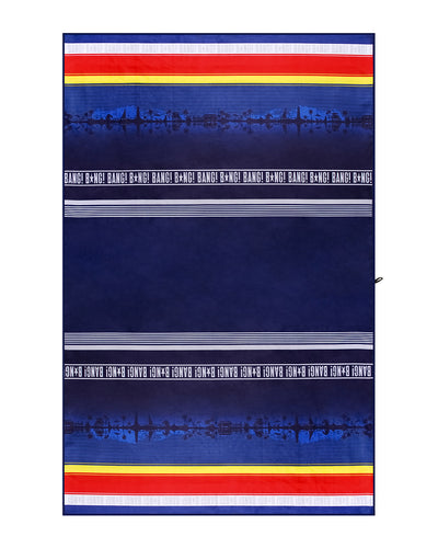 Full view of BANG! Beach Towel featuring a beachside landscape in blue background with stripes in yellow, red and white.
